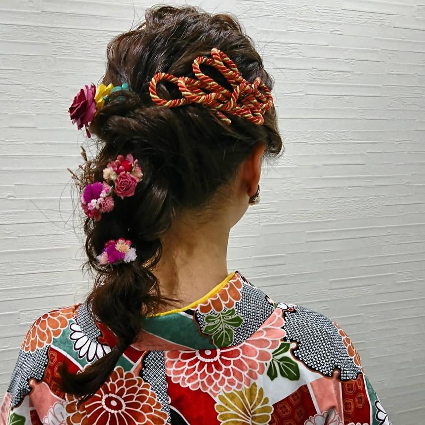 卒業式 袴ヘアセット 編みおろしヘア
